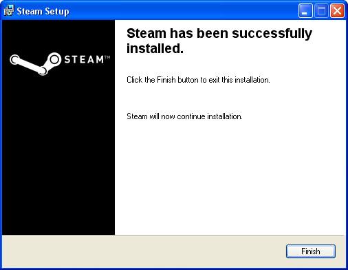 Установка закончена Steam